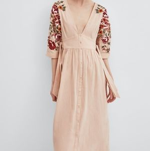 Zara embroidered linen maxi/midi dress